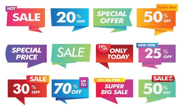 Coleção de banner de publicidade social de venda gradiente Vetor Premium