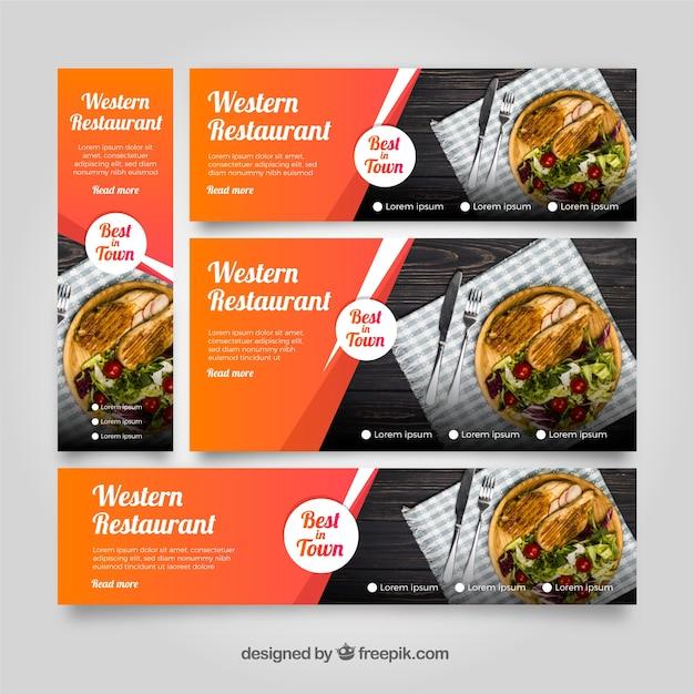 Coleção de banner de restaurante americano com fotos Vetor grátis