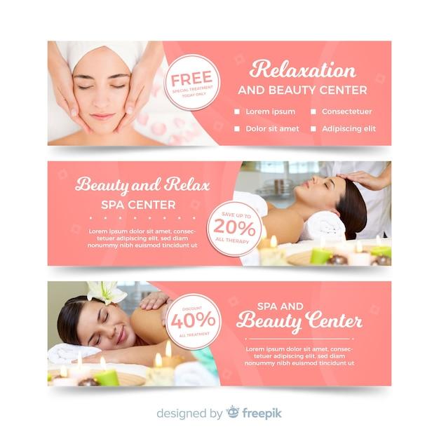 Coleção de banner de spa com foto Vetor grátis