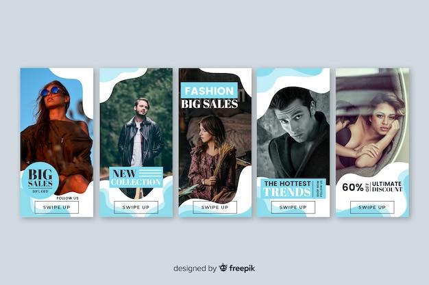 Coleção de banner de venda com foto Vetor grátis