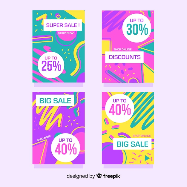 Coleção de banner de venda de estilo memphis Vetor grátis
