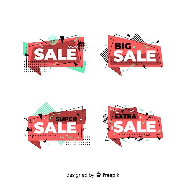 Coleção de banner de venda de memphis Vetor grátis