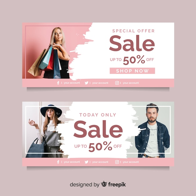 Coleção de banner de venda de moda Vetor grátis