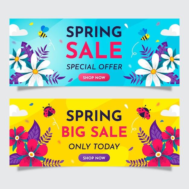 Coleção de banner de venda de primavera de design plano Vetor grátis
