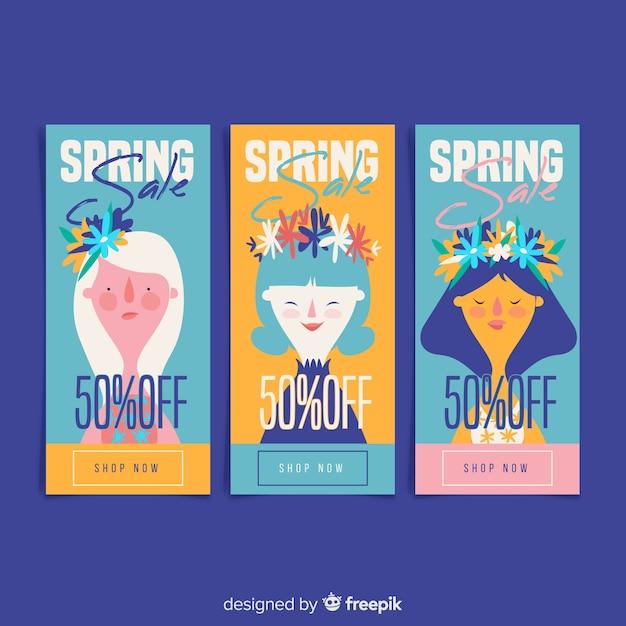 Coleção de banner de venda de primavera Vetor grátis