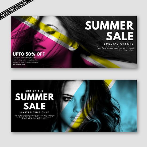 Coleção de banner de venda de verão Vetor Premium