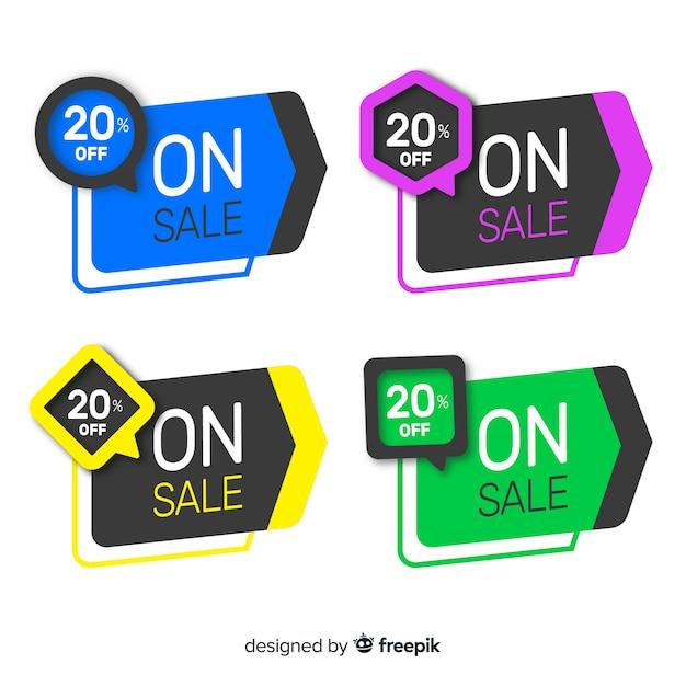 Coleção de banner de venda geométrica Vetor grátis