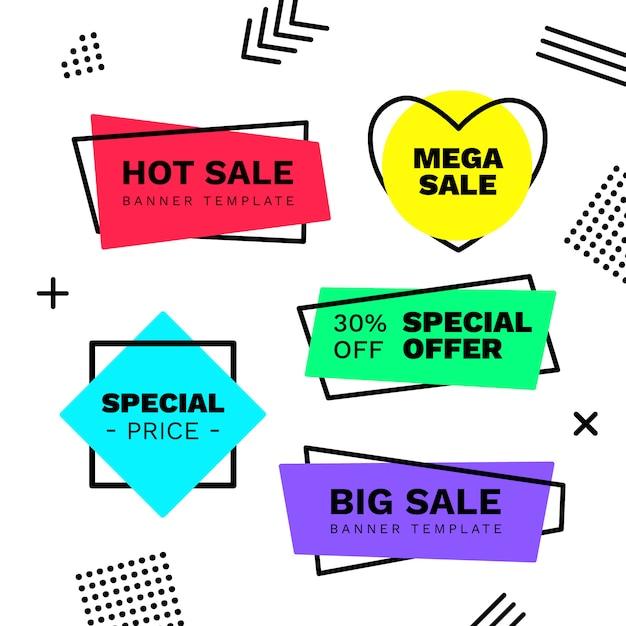 Coleção de banner de venda no estilo de memphis Vetor grátis