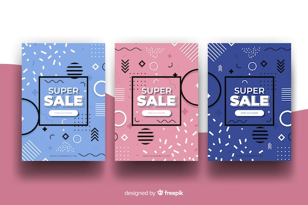 Coleção de banner de vendas de memphis Vetor grátis