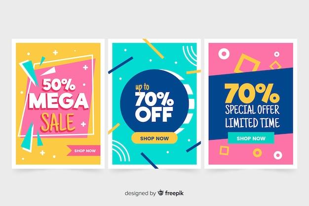 Coleção de banner de vendas em estilo memphis Vetor grátis
