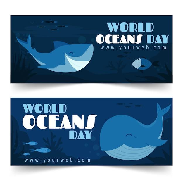 Coleção de banner do dia mundial dos oceanos Vetor grátis
