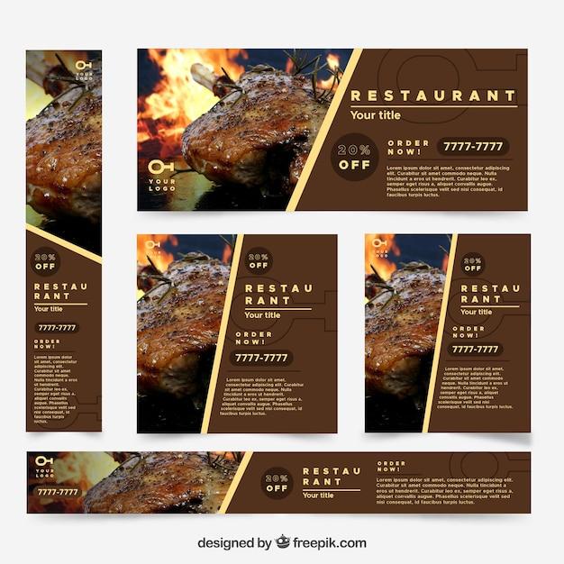 Coleção de banner do restaurante web com foto Vetor grátis