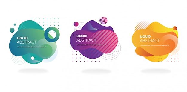 Coleção de banner gradiente fluido com forma abstrata para web ou modelo de mídia social Vetor Premium
