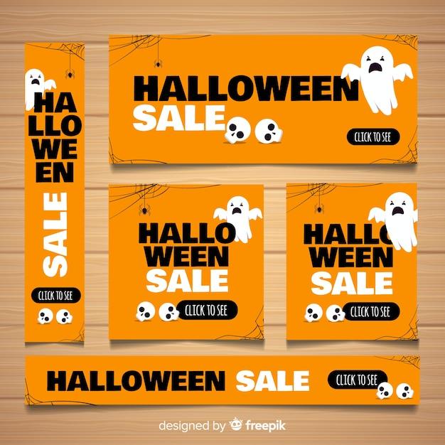 Coleção de banner moderno web halloween Vetor grátis