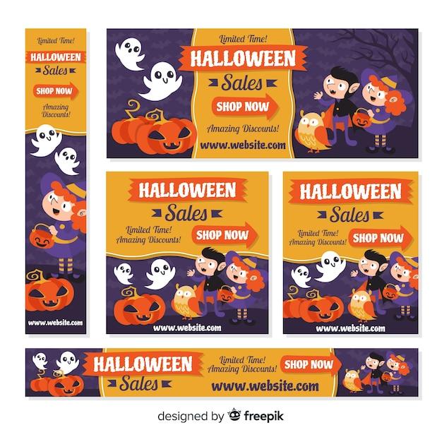 Coleção de banner web halloween com design plano Vetor grátis