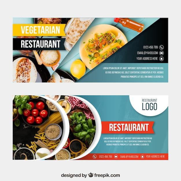 Coleção de banner web restaurante vegetariano com foto Vetor grátis