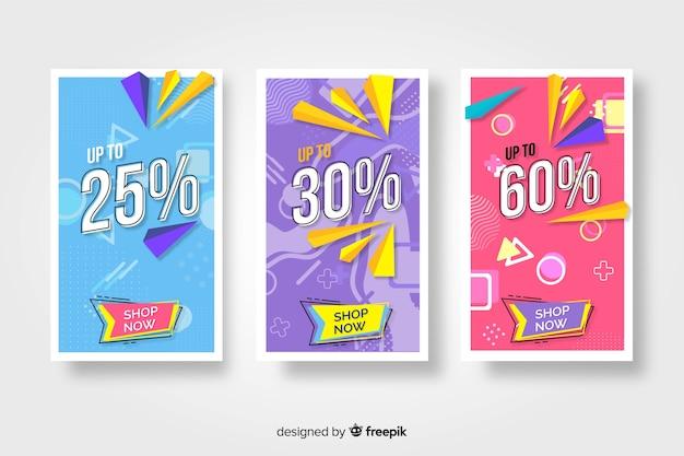 Coleção de banners coloridos de venda memphis Vetor grátis