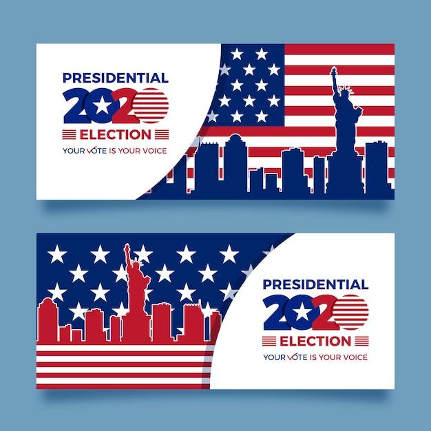 Coleção de banners da eleição presidencial dos eua em 2020 Vetor grátis