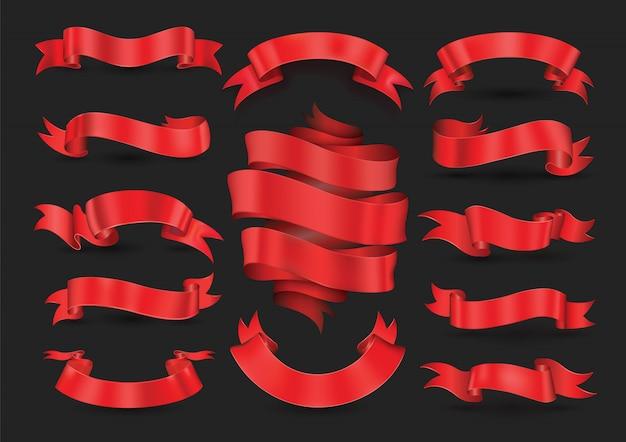 Coleção de banners de fita vermelha Vetor Premium