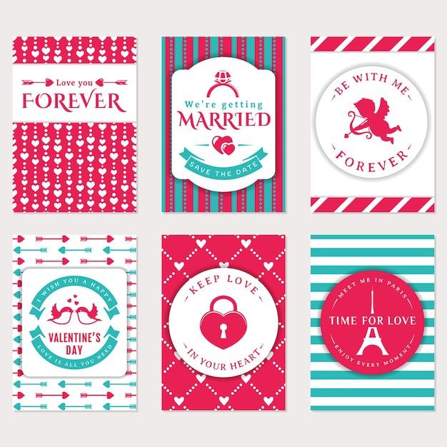Coleção de banners de giro do vetor. panfletos românticos, cartão de dia dos namorados, convite de casamento. Vetor Premium