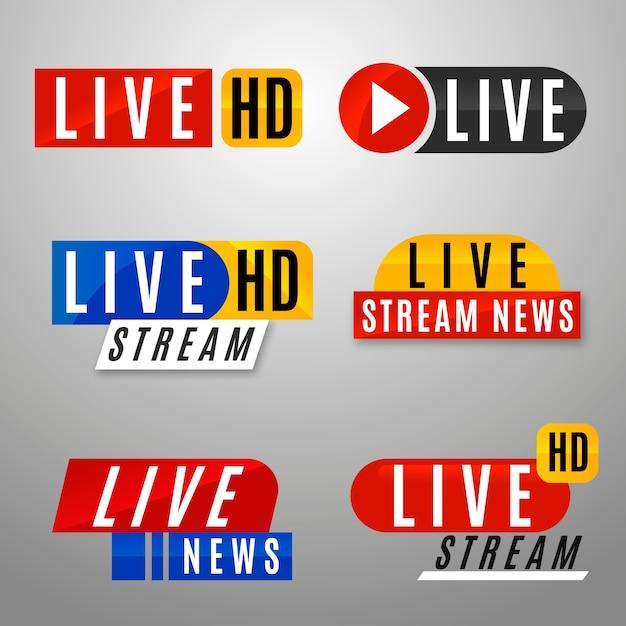 Coleção de banners de notícias de transmissão ao vivo Vetor grátis