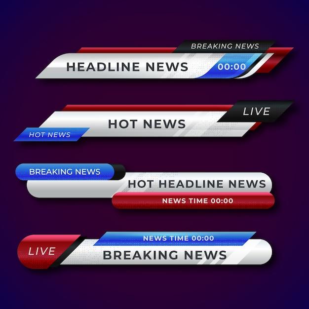 Coleção de banners de notícias de última hora Vetor Premium