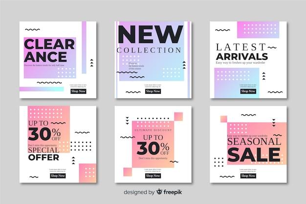 Coleção de banners de promoção de venda abstrata Vetor grátis