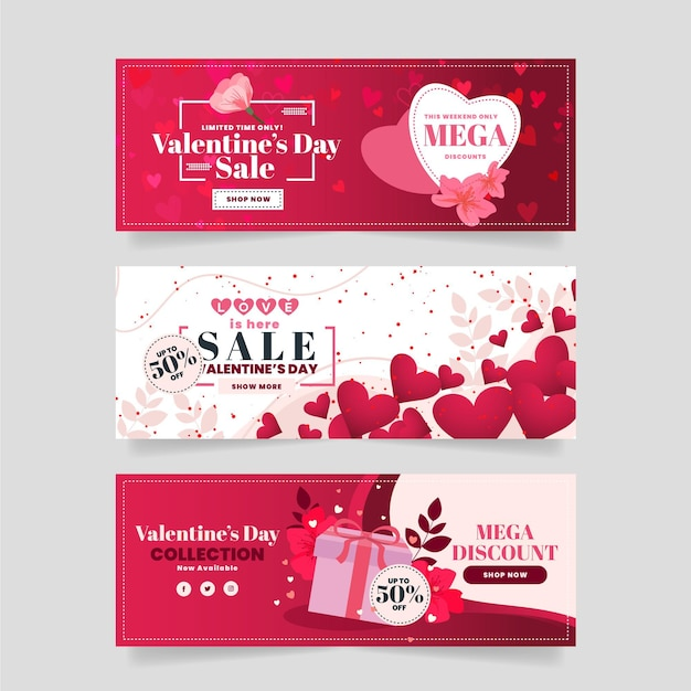 Coleção de banners de promoção do dia dos namorados Vetor grátis