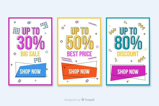 Coleção de banners de venda colorida em estilo memphis Vetor grátis
