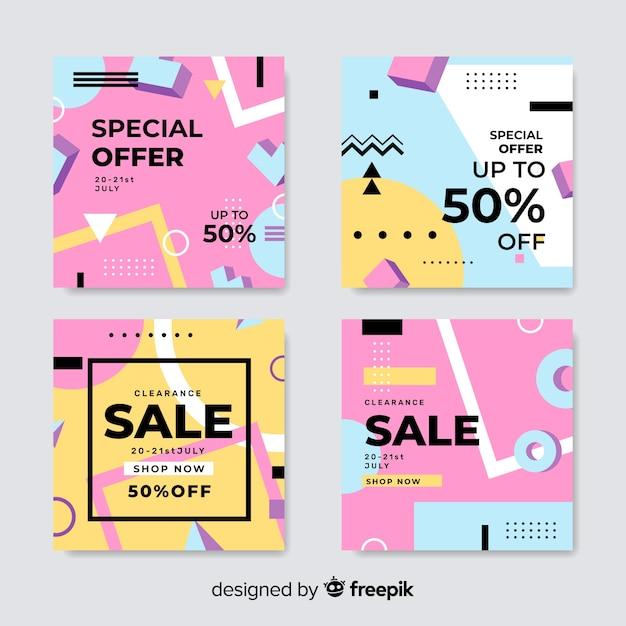 Coleção de banners de venda de memphis Vetor grátis