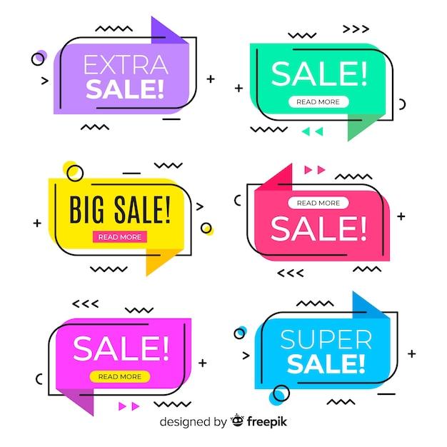 Coleção de banners de venda estilo memphis Vetor grátis