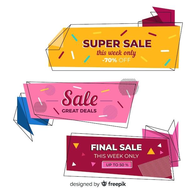 Coleção de banners de venda origami abstrata Vetor grátis