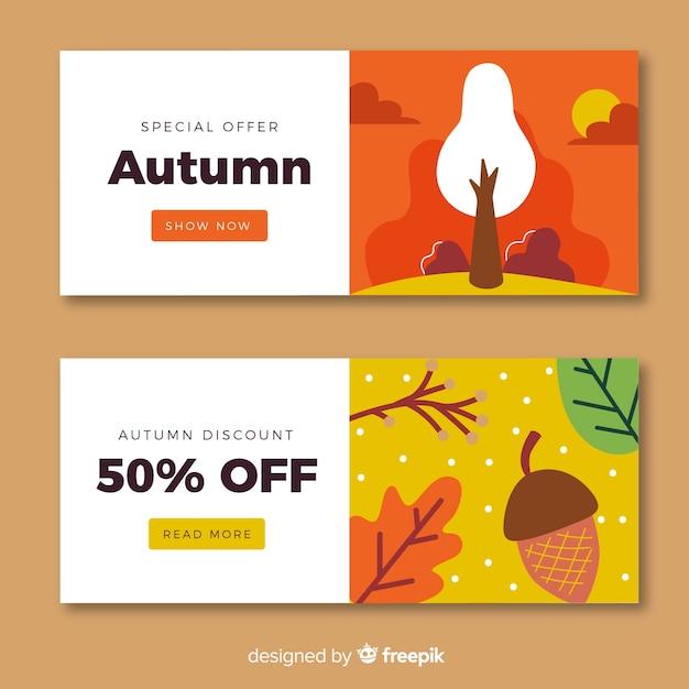 Coleção de banners de venda outono design plano Vetor grátis