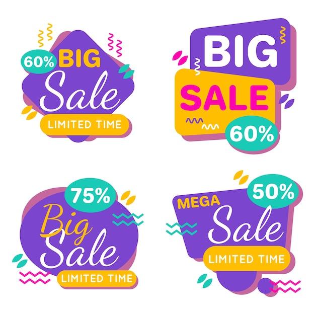 Coleção de banners de vendas coloridas Vetor grátis