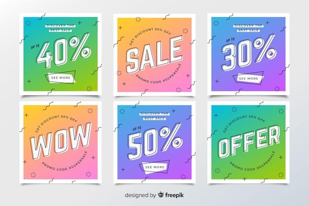 Coleção de banners de vendas de memphis Vetor grátis