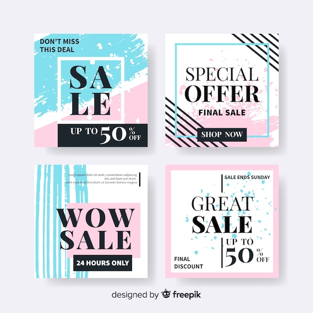 Coleção de banners de vendas de mídia social de moda Vetor grátis