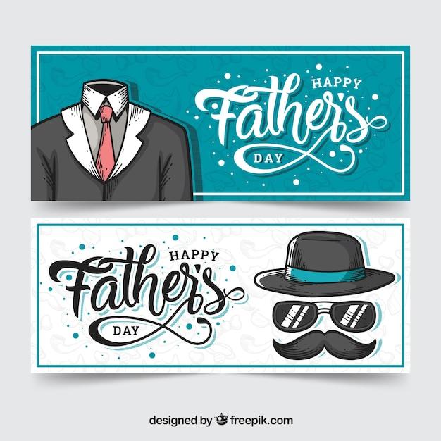 Coleção de banners do dia dos pais com terno Vetor grátis
