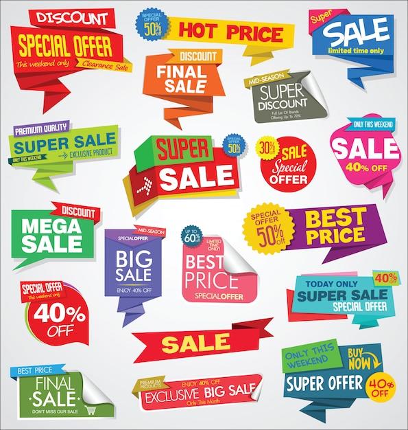 Coleção de banners e etiquetas de venda moderna Vetor Premium