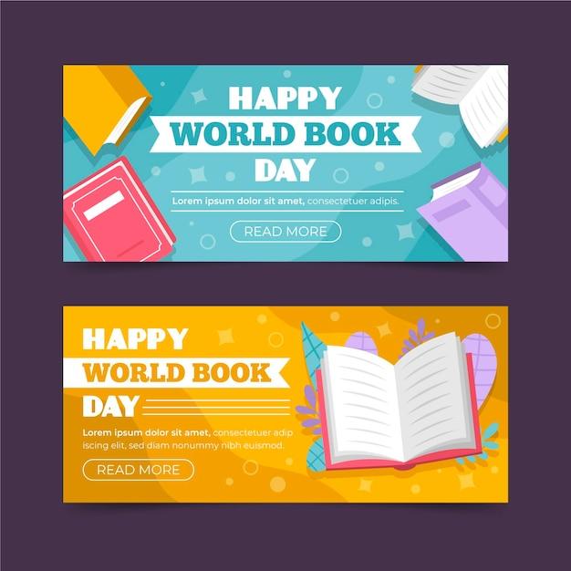 Coleção de banners horizontais do dia mundial do livro Vetor grátis