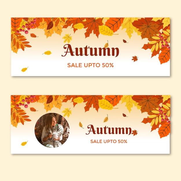 Coleção de banners horizontais no meio do outono Vetor Premium