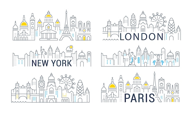 Coleção de banners lineares de paris, londres e nova york. Vetor Premium