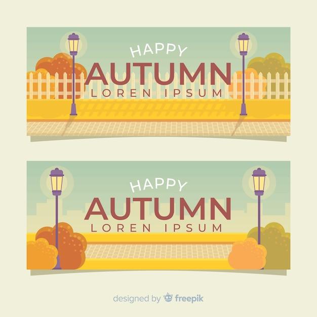 Coleção de banners planas de outono Vetor grátis
