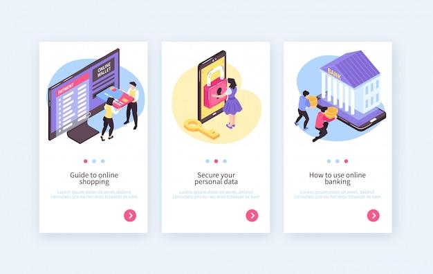 Coleção de banners verticais de banco móvel on-line isométrica com botões de texto e imagens de pessoas e eletrônicos Vetor grátis