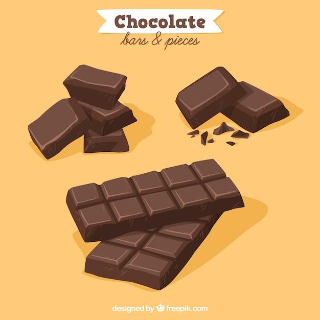 Coleção de barras e pedaços de chocolate Vetor Premium