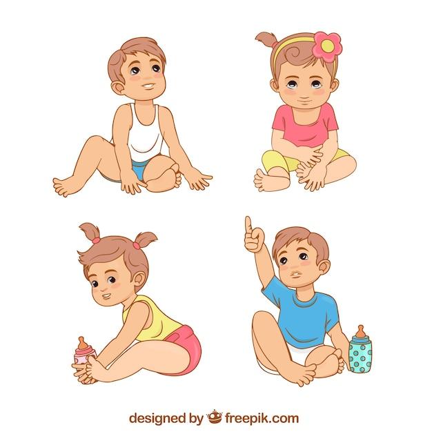 Coleção De Bebês Bonitos Em Diferentes Poses Baixar Vetores Grátis