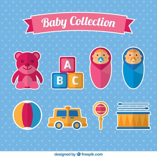 Coleção de bebês com alguns brinquedos em design plano Vetor grátis