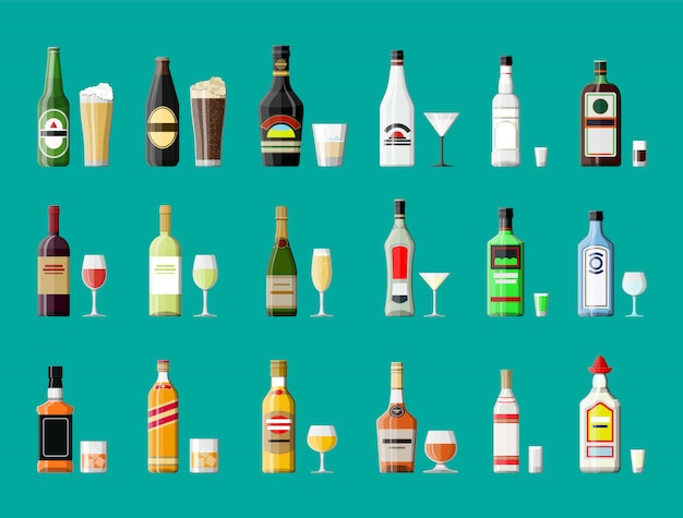 Coleção de bebidas de álcool. garrafas com copos. Vetor Premium
