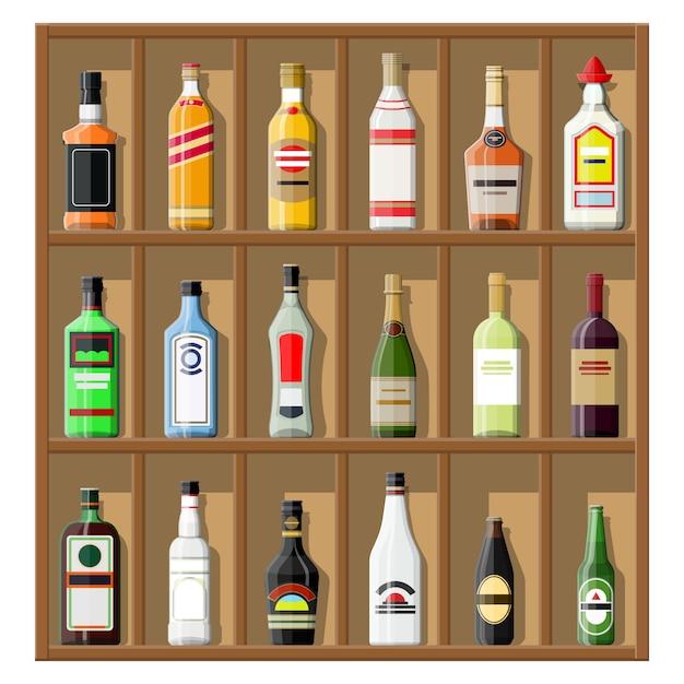 Coleção de bebidas de álcool. garrafas na prateleira Vetor Premium