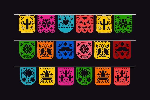 Coleção de belas bandeiras mexicanas Vetor grátis