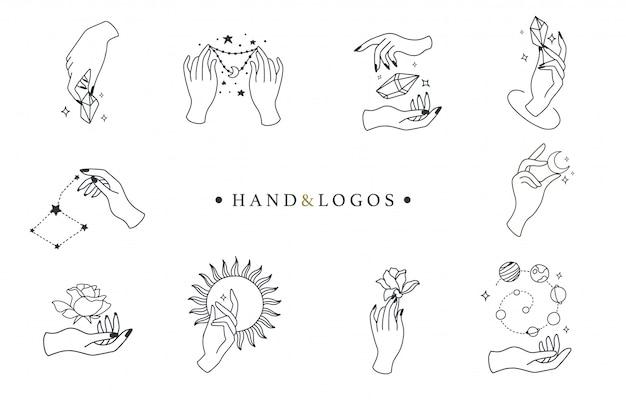 Coleção de beleza boho com mão, rosa, cristal, sol, lua, estrela. Vetor Premium